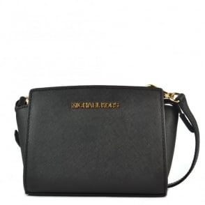 MICHAEL by Michael Kors Selma Mini Black Saffiano Messenger Bag