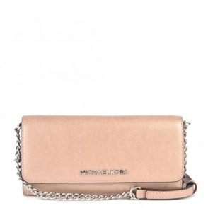 MICHAEL by Michael Kors Jet Set Travel Pink Leather Chain Wallet