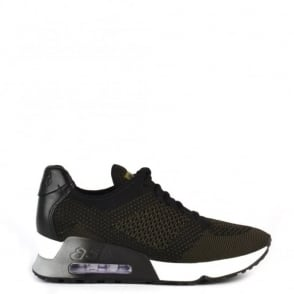Ash Footwear Lucky Knit Army Green and Black Trainer