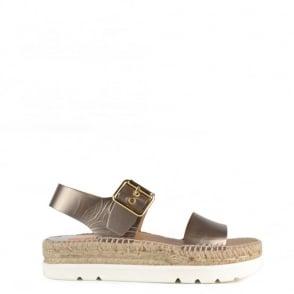 Kanna Doha Metallic Gunmetal Espadrille Sandal