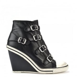Thelma Black Leather Wedge Trainer