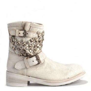 Titanic All White & Silver Studded Ankle Biker Boots