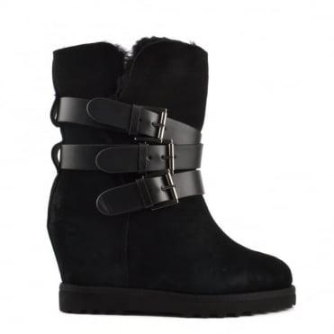 Yes Black Fleece Lined Wedge Buckle Boot