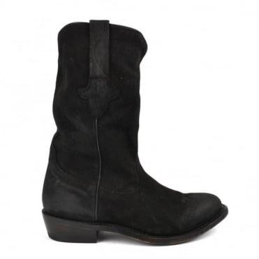 Justin Black Suede Cowboy Boot