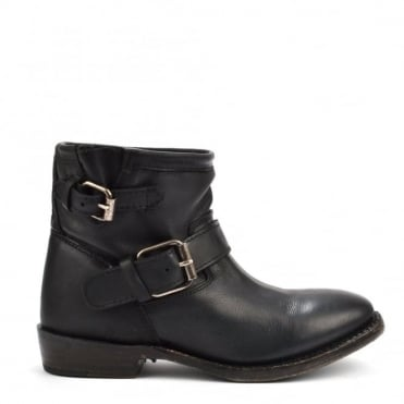Vegas Black Leather Ankle Boot