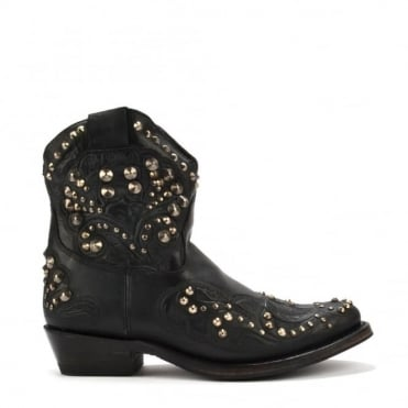 Kendra Black Studded Western Ankle Boots