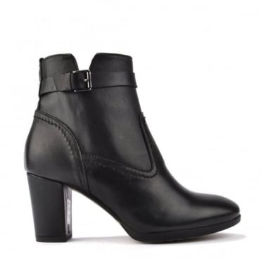 Black Leather Zip-Up Heeled Ankle Boot