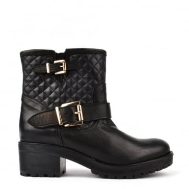Quilted Black Leather Ankle Boot