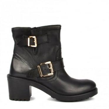 Black Leather Heeled Ankle