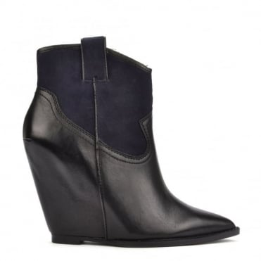 Jude Black Leather and Midnight Wedge Boot