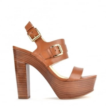 Beatrice Tan Leather Platform Sandal