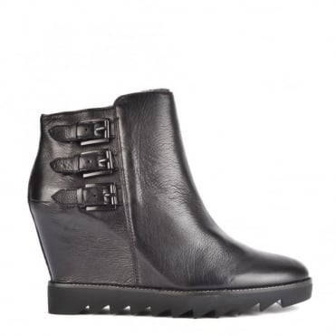 Iggy Black Leather Wedge Ankle Boot