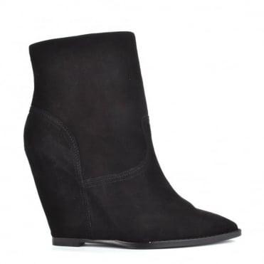 Jasmin Black Suede Wedge Ankle Boot