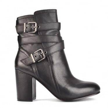 Fargo Black Leather Heeled Boot
