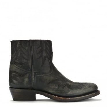 Kurty Black Leather Ankle Boot