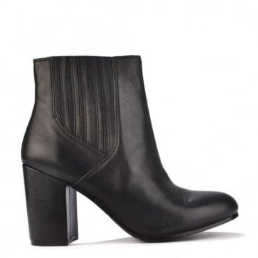 Feeling Black Leather Heeled Boot