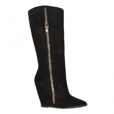 Joyce Black Suede Wedge Boot