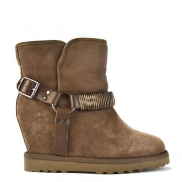 Youri Grey Suede Shearling Wedge Boot