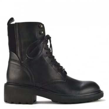Styx Black Leather Lace Up Boot
