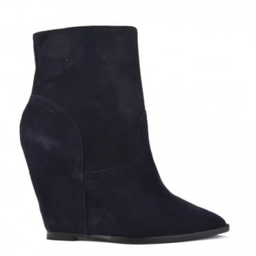 Jasmin Midnight Suede Wedge Ankle Boot