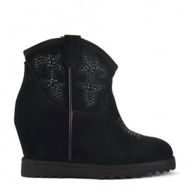 Yasmin Black Suede Embellished Wedge Ankle Boot