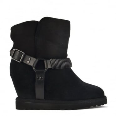 Youri Black Suede Shearling Wedge Boot