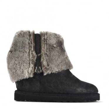 Yorki Black Fleece Lined Wedge Boot