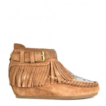 Serpico Nuts Suede Fringed Wedge Boot
