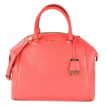 Riley Watermelon Large Leather Satchel