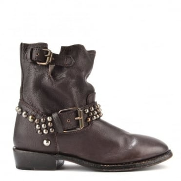 Vicious Bis Brown Leather Studded Ankle Boot