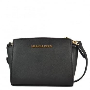 Selma Mini Black Saffiano Messenger Bag
