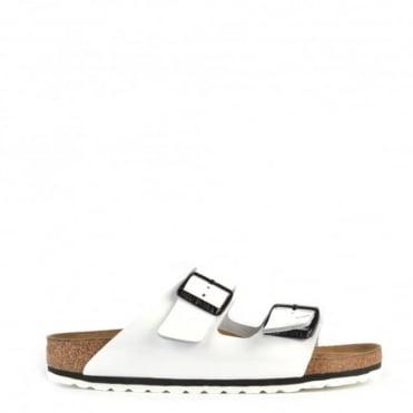 Arizona White Patent Two Strap Flat Sandal