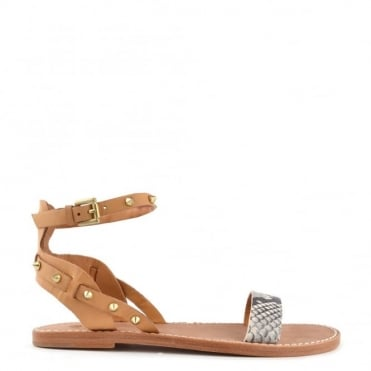 Podium Nude Leather Flat Sandal