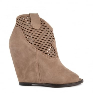 Lucy Topo Suede Wedge Ankle Boot