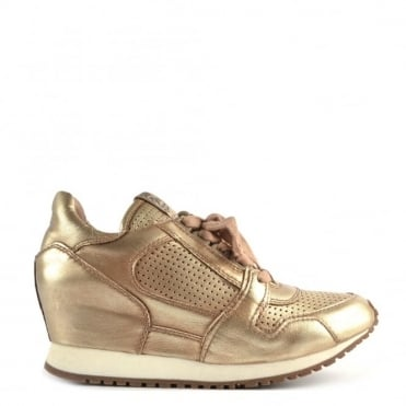 Dean Platine Leather Low Wedge Trainer
