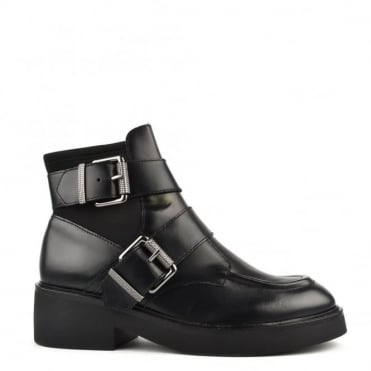 Nikko Black Leather Ankle Boot