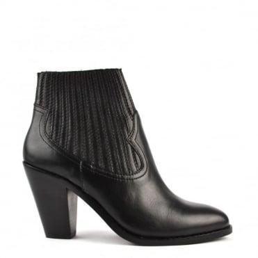Ilona Black Heeled Ankle Boot