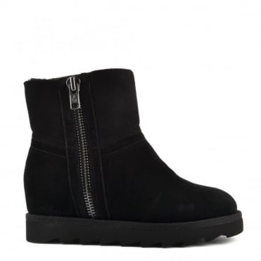 Yang Black Shearling Wedge Ankle Boot
