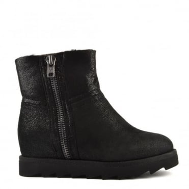 Yang Black Glitter Effect Wedge Ankle Boot