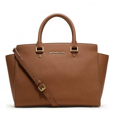 Selma Tan Leather Large Satchel