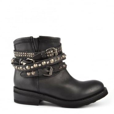 Tatum Black Leather Studded Boot