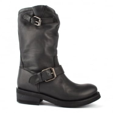 Toxic Black Leather Boot