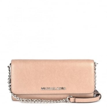 Jet Set Travel Pink Leather Chain Wallet