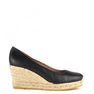 Venus Black Leather Wedge Espadrille Pump