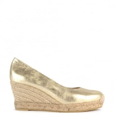 Venus Gold Leather Wedge Espadrille Pump