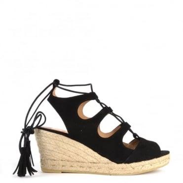 Luna Black Suede Wedge Espadrille Sandal