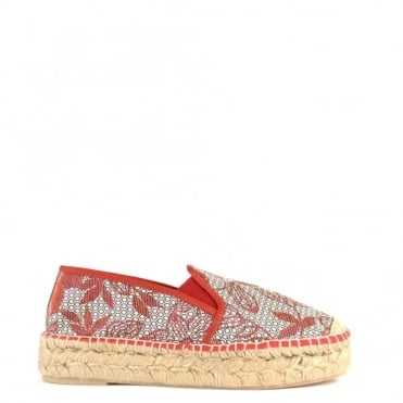 Path Patterned Canvas Espadrille