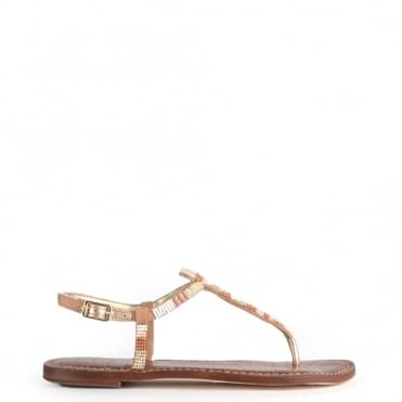 Gail White and Nude Beaded Leather Sandal