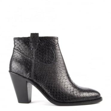 Ivana Black Python Ankle Boot