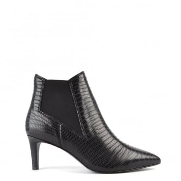 Drastic Black Printed Heeled Ankle Boot